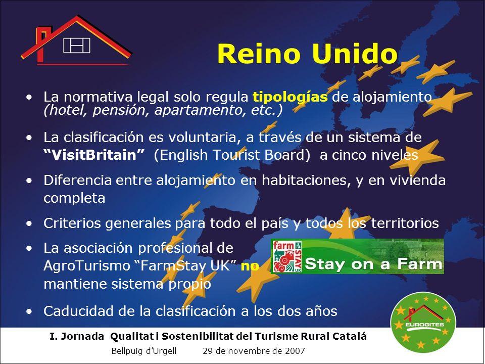 Reino Unido La normativa legal solo regula tipologías de alojamiento (hotel, pensión, apartamento, etc.)
