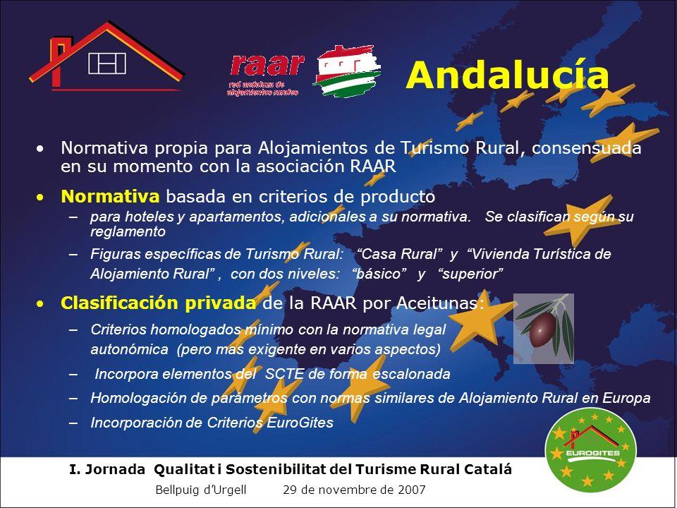 AndalucíaNormativa propia para Alojamientos de Turismo Rural, consensuada en su momento con la asociación RAAR.