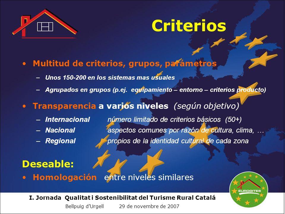 Criterios Deseable: Multitud de criterios, grupos, parámetros