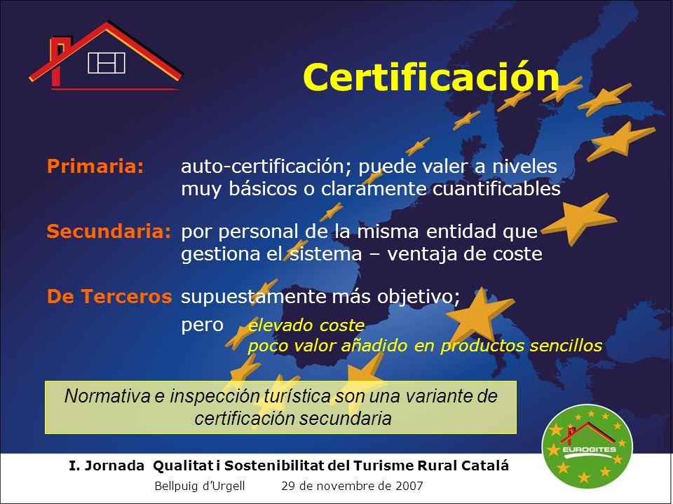 Certificación Primaria: auto-certificación; puede valer a niveles muy básicos o claramente cuantificables.