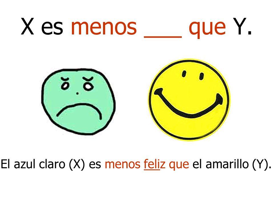 X es menos ___ que Y. El azul claro (X) es menos feliz que el amarillo (Y).
