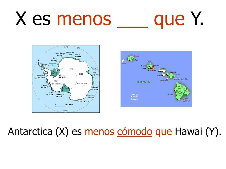 X es menos ___ que Y. Antarctica (X) es menos cómodo que Hawai (Y).