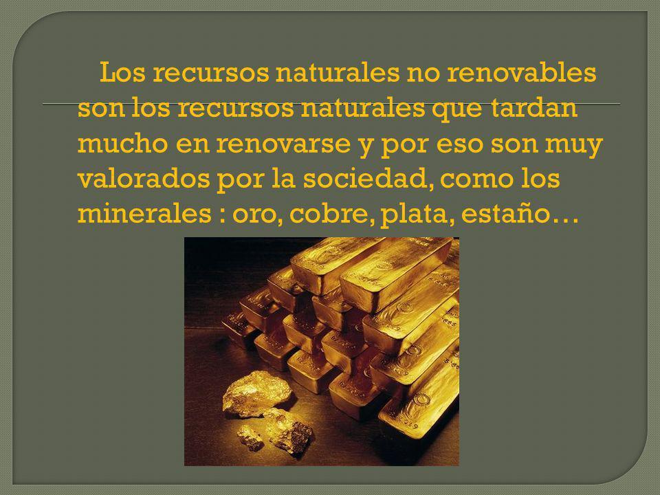 Los recursos naturales no renovables son los recursos naturales que tardan mucho en renovarse y por eso son muy valorados por la sociedad, como los minerales : oro, cobre, plata, estaño…