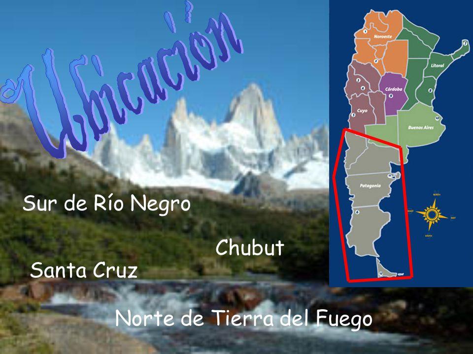 Ubicación Sur de Río Negro Chubut Santa Cruz Norte de Tierra del Fuego