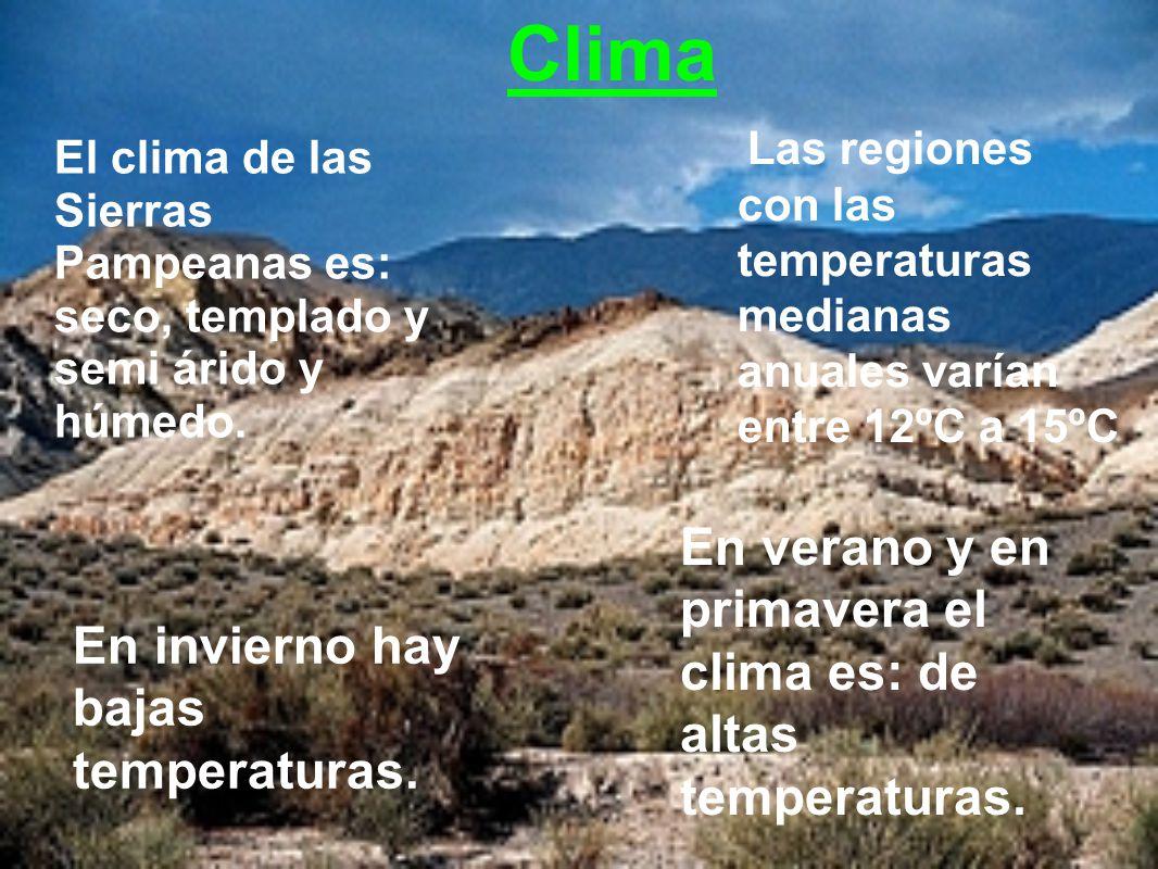 Clima En verano y en primavera el clima es: de altas temperaturas.