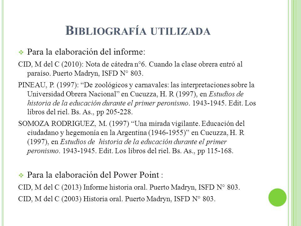 Bibliografía utilizada