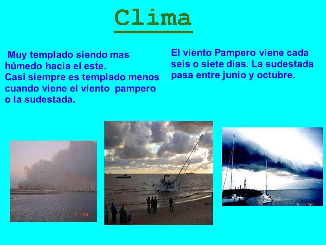 Clima El viento Pampero viene cada seis o siete dias. La sudestada pasa entre junio y octubre. Muy templado siendo mas húmedo hacia el este.