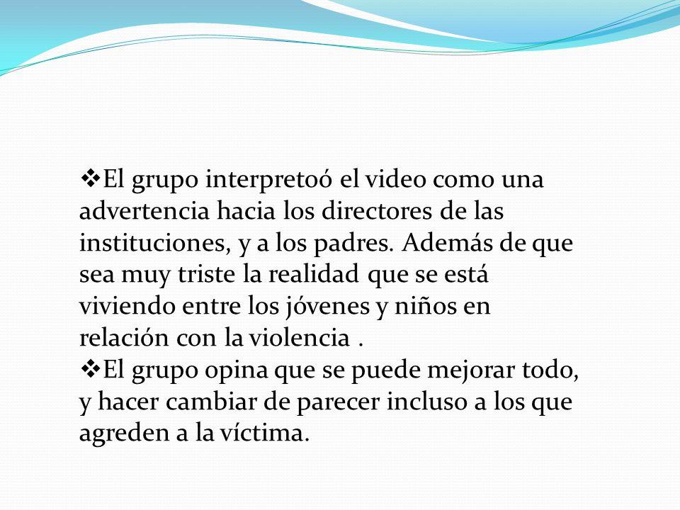 El grupo interpretoó el video como una advertencia hacia los directores de las instituciones, y a los padres. Además de que sea muy triste la realidad que se está viviendo entre los jóvenes y niños en relación con la violencia .