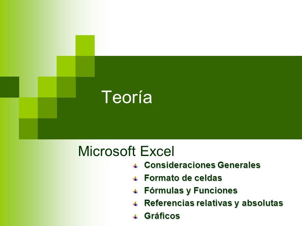 Teoría Microsoft Excel Consideraciones Generales Formato de celdas