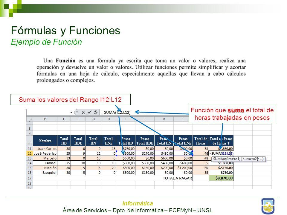Fórmulas y Funciones Ejemplo de Función