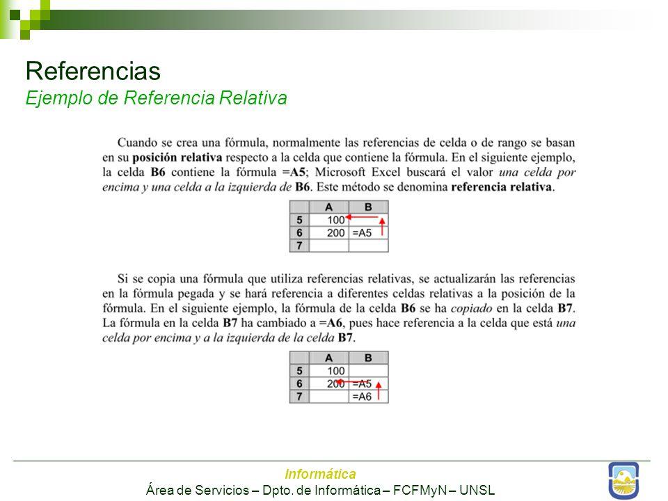 Referencias Ejemplo de Referencia Relativa