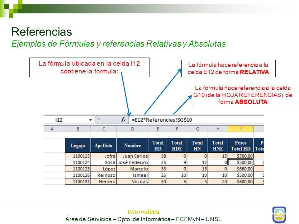 Referencias Ejemplos de Fórmulas y referencias Relativas y Absolutas