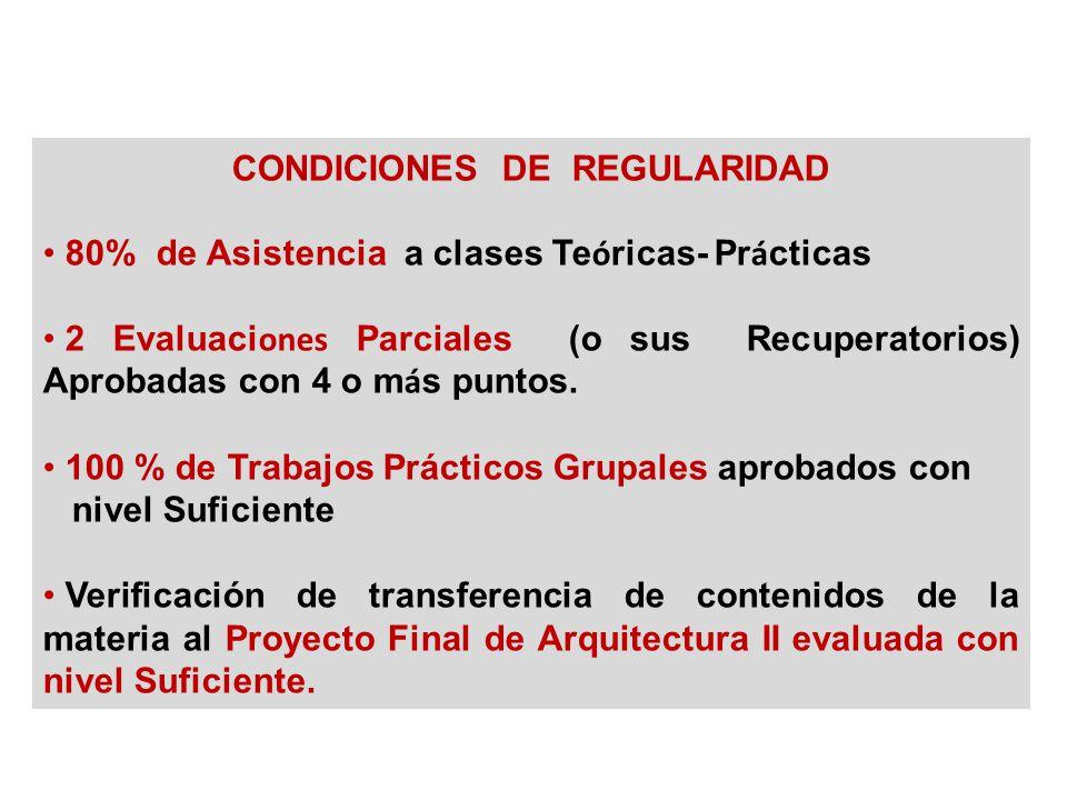 CONDICIONES DE REGULARIDAD