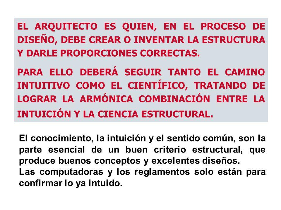 EL ARQUITECTO ES QUIEN, EN EL PROCESO DE DISEÑO, DEBE CREAR O INVENTAR LA ESTRUCTURA Y DARLE PROPORCIONES CORRECTAS.
