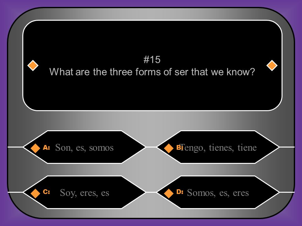 What are the three forms of ser that we know