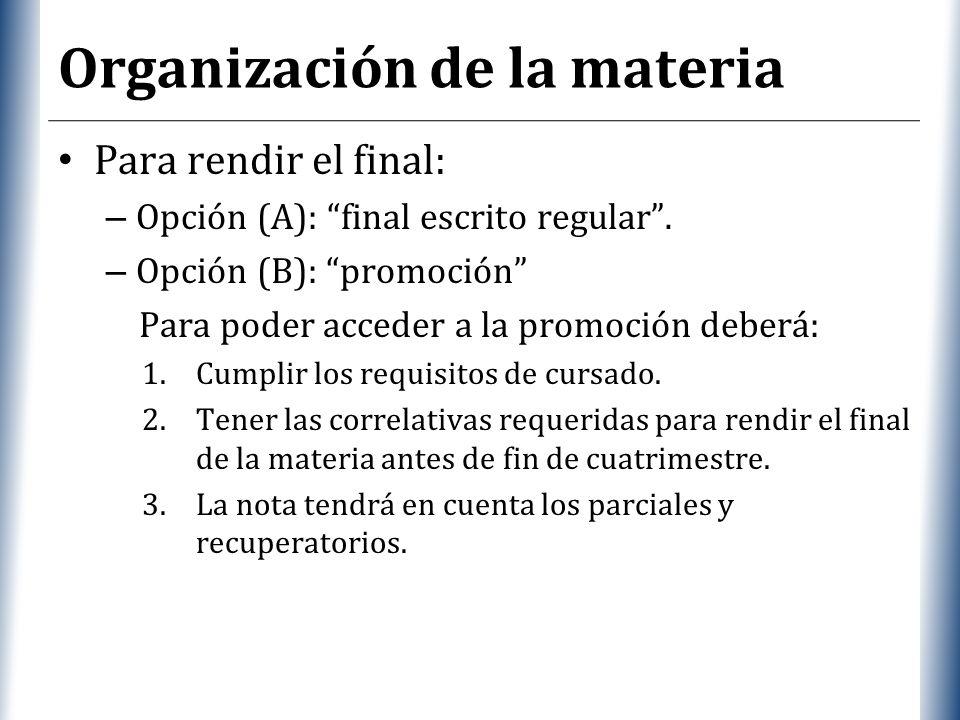Organización de la materia