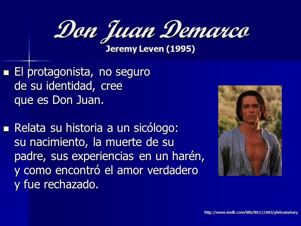 Don Juan Demarco Jeremy Leven (1995)