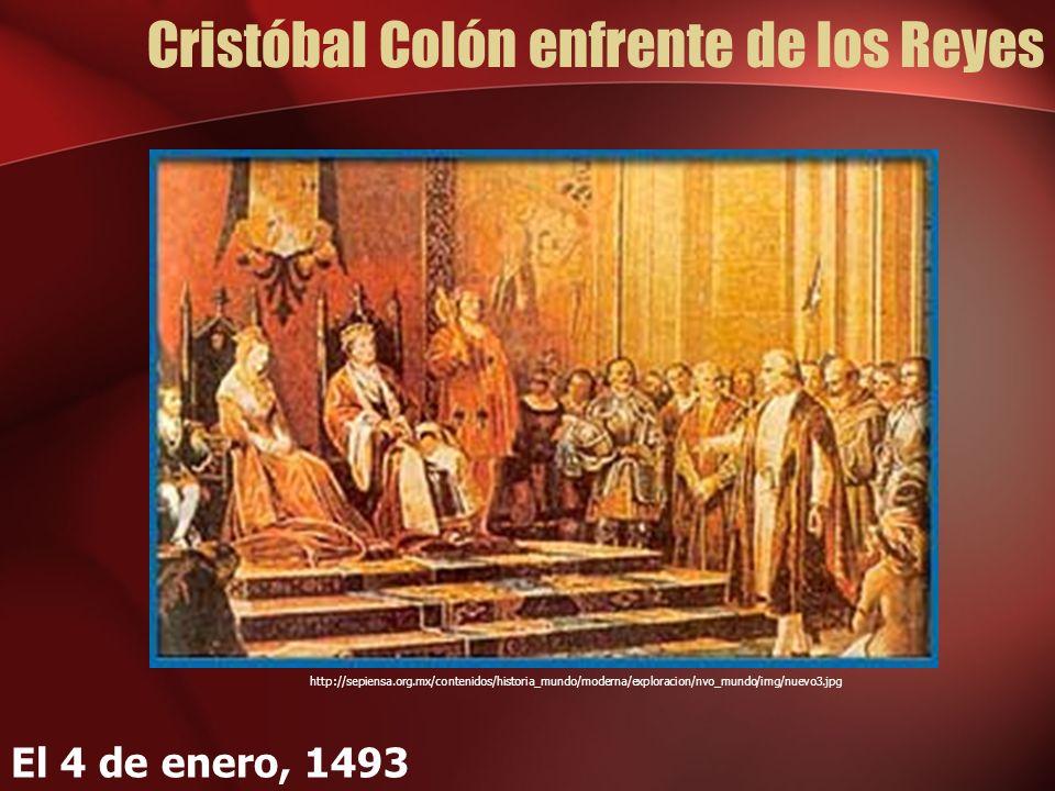 Cristóbal Colón enfrente de los Reyes