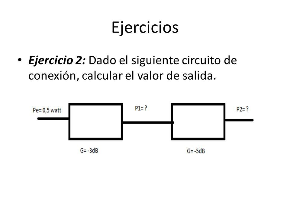 Ejercicios Ejercicio 2: Dado el siguiente circuito de conexión, calcular el valor de salida.