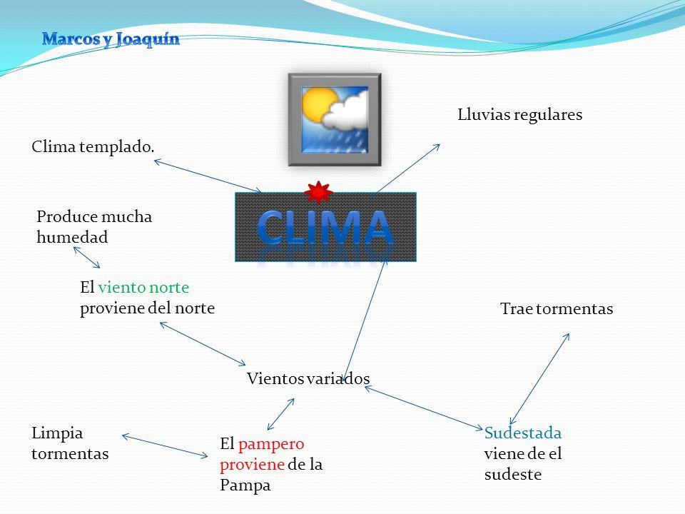 Clima Marcos y Joaquín Lluvias regulares Clima templado.