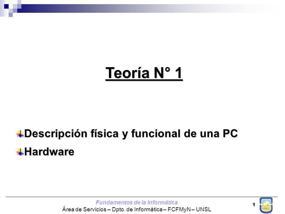 Teoría N° 1 Descripción física y funcional de una PC Hardware