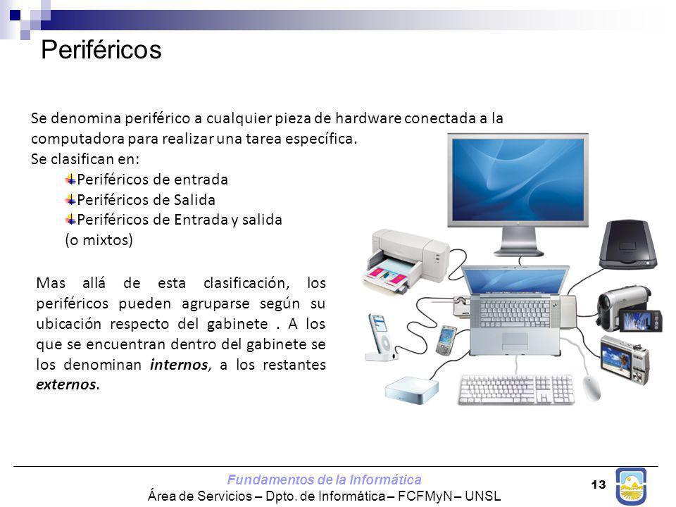 Periféricos Se denomina periférico a cualquier pieza de hardware conectada a la computadora para realizar una tarea específica.