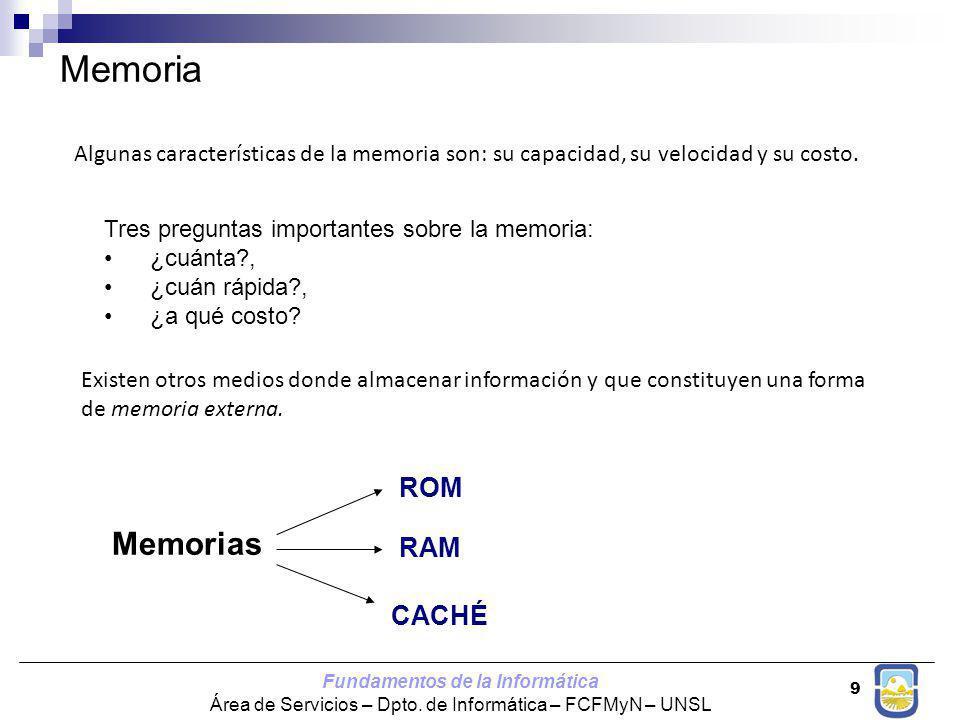 Memoria Memorias ROM RAM CACHÉ