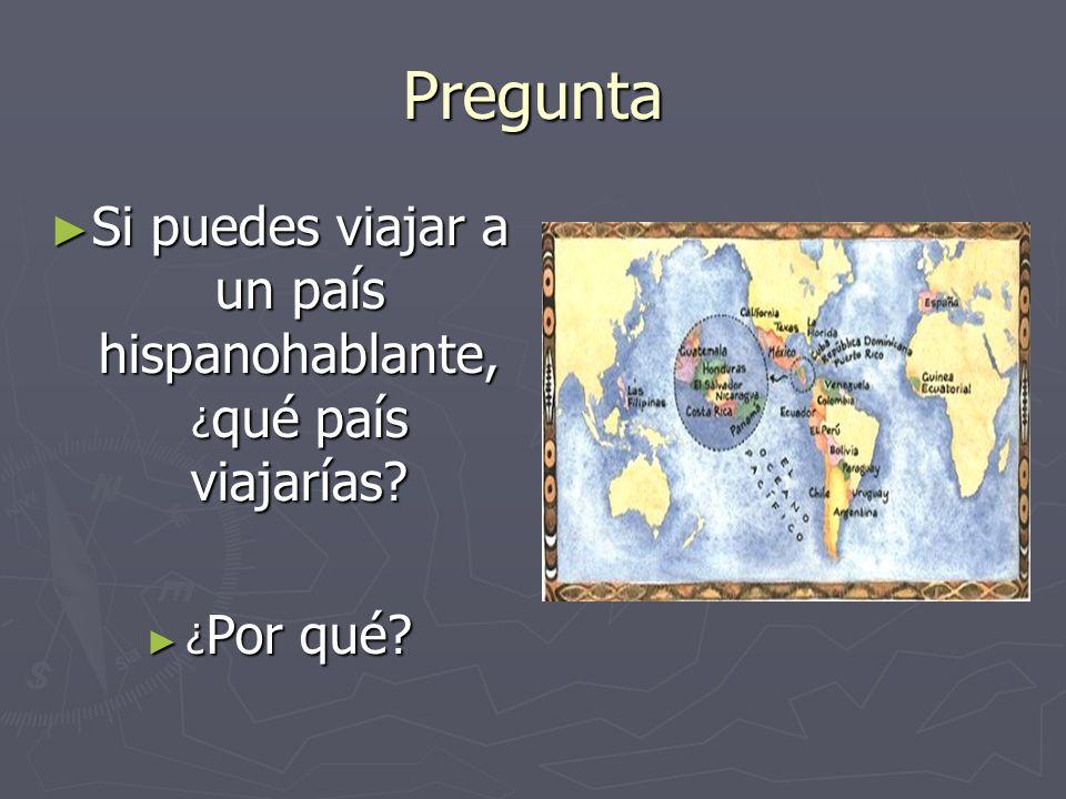 Si puedes viajar a un país hispanohablante, ¿qué país viajarías