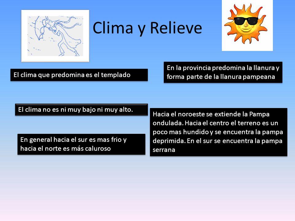 Clima y Relieve En la provincia predomina la llanura y forma parte de la llanura pampeana. El clima que predomina es el templado.