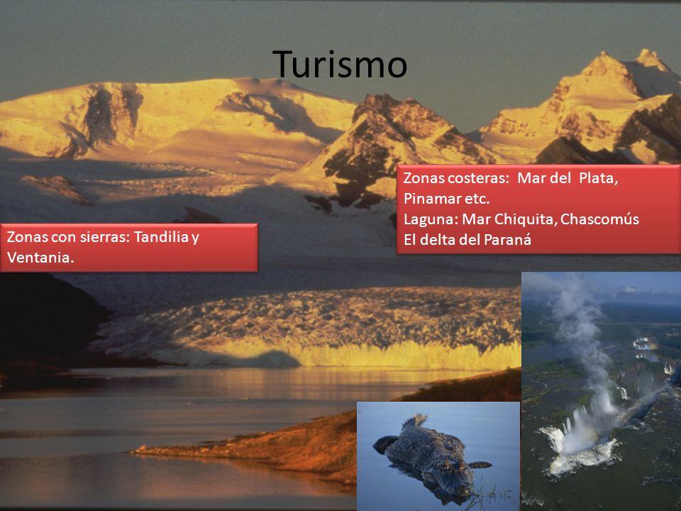 Turismo Zonas costeras: Mar del Plata, Pinamar etc.