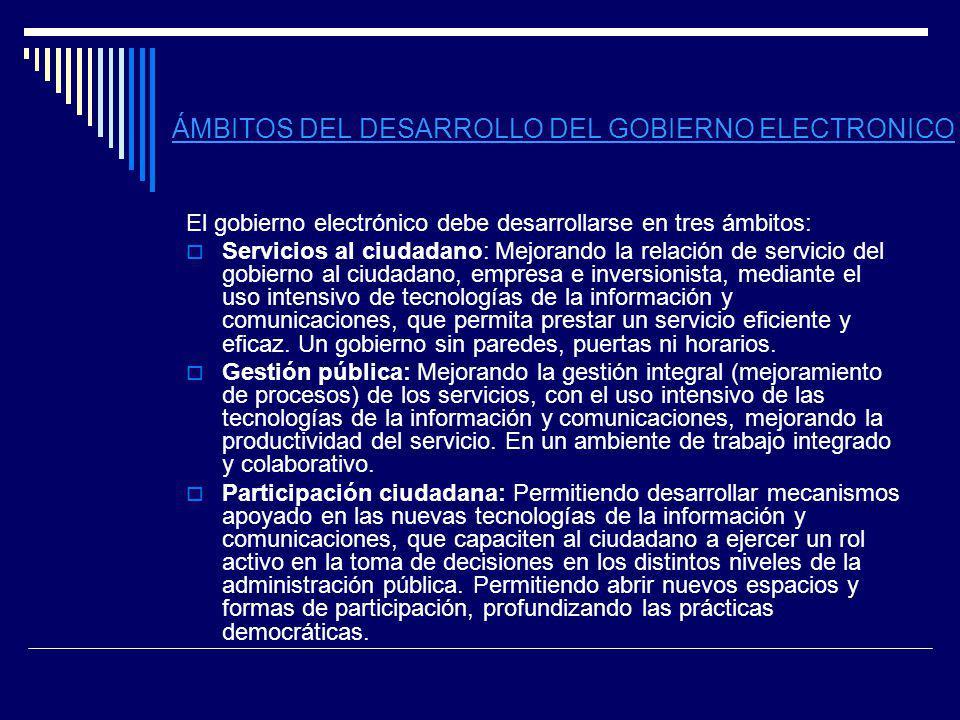 ÁMBITOS DEL DESARROLLO DEL GOBIERNO ELECTRONICO