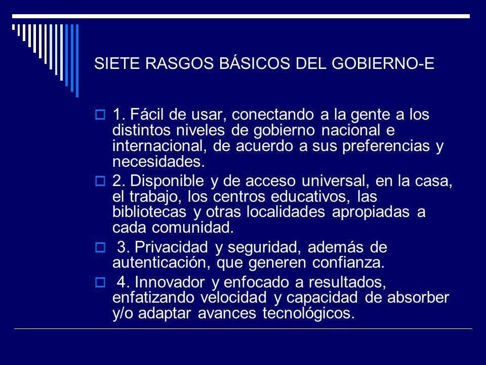 SIETE RASGOS BÁSICOS DEL GOBIERNO-E