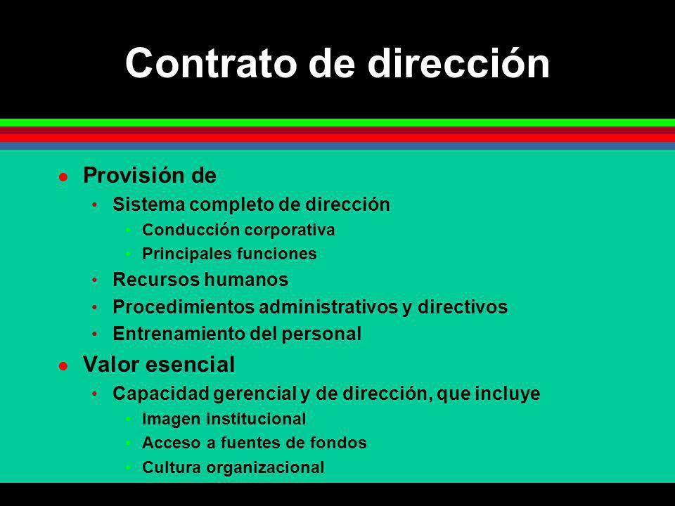 Contrato de dirección Provisión de Valor esencial