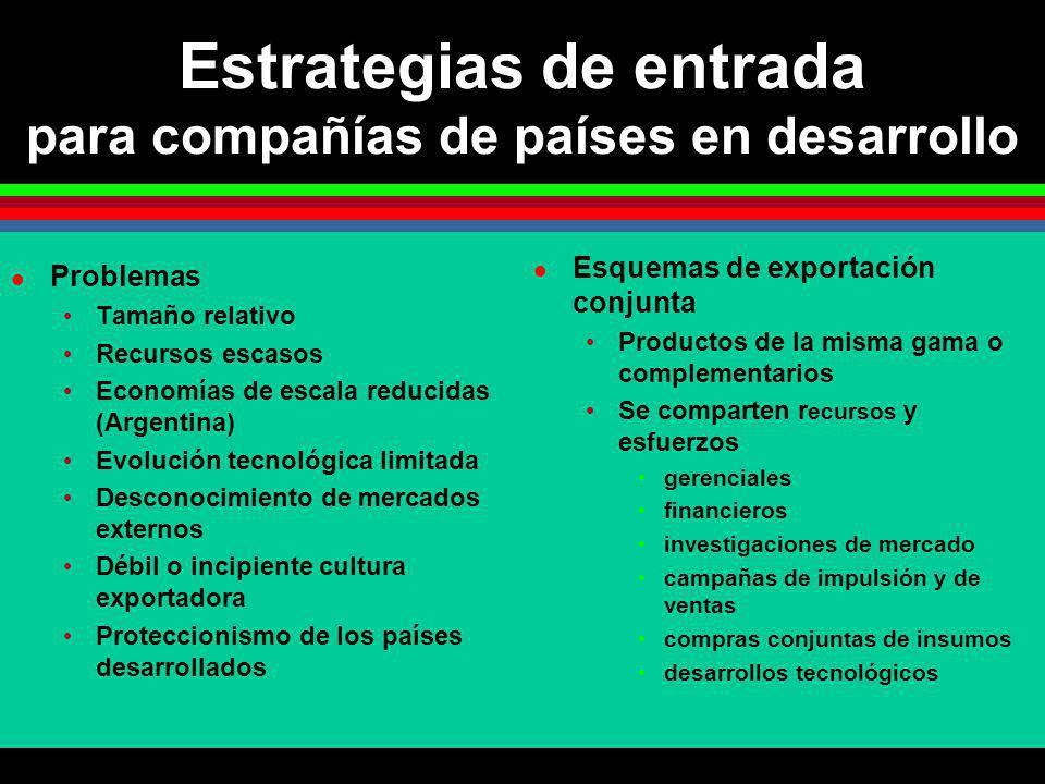 Estrategias de entrada para compañías de países en desarrollo