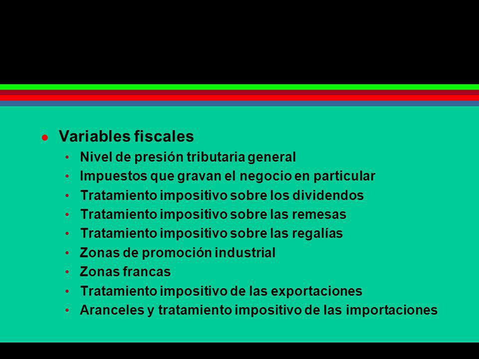 Variables fiscales Nivel de presión tributaria general