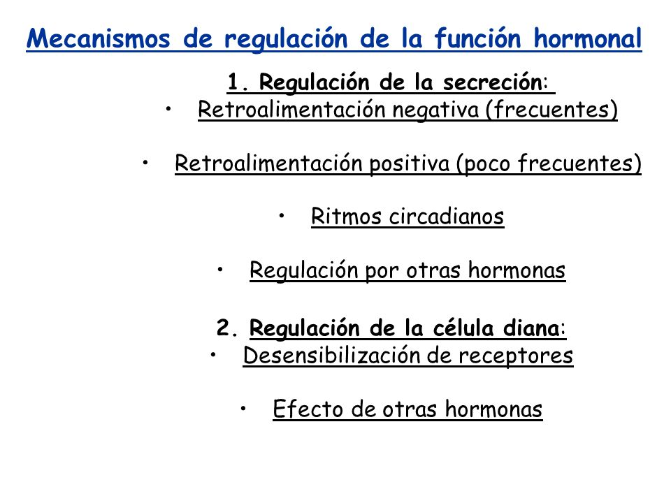 Mecanismos de regulación de la función hormonal