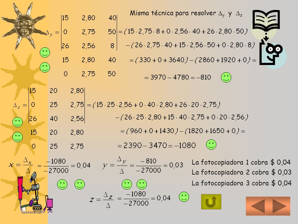 Misma técnica para resolver y y z