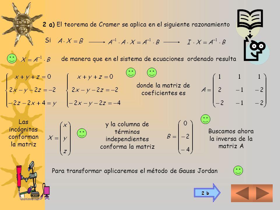 2 a) El teorema de Cramer se aplica en el siguiente razonamiento