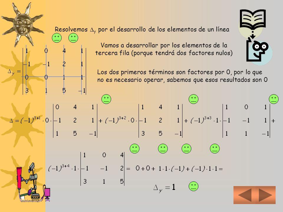Resolvemos y por el desarrollo de los elementos de un línea