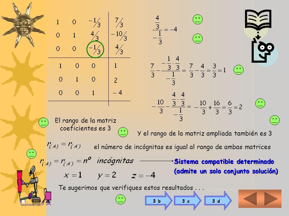 El rango de la matriz coeficientes es 3