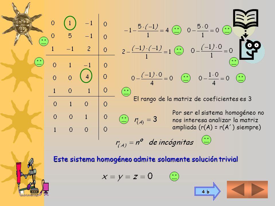 Este sistema homogéneo admite solamente solución trivial