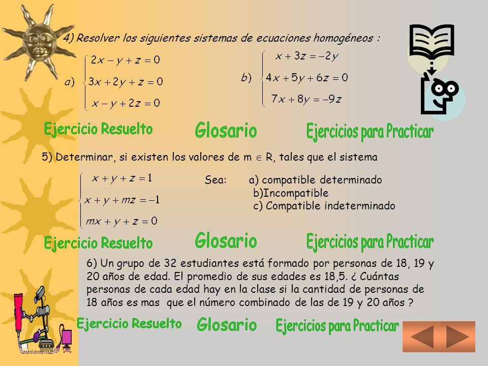 4) Resolver los siguientes sistemas de ecuaciones homogéneos :