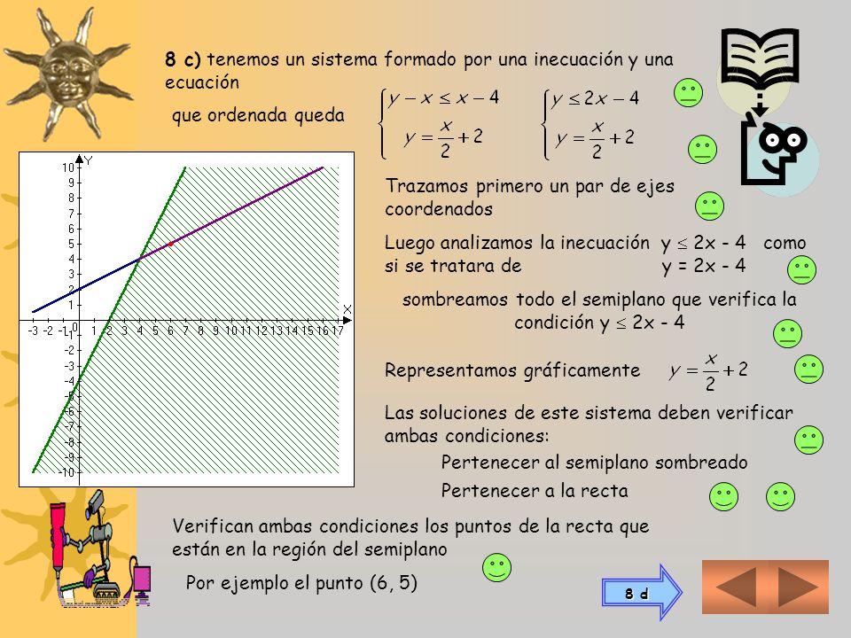8 c) tenemos un sistema formado por una inecuación y una ecuación