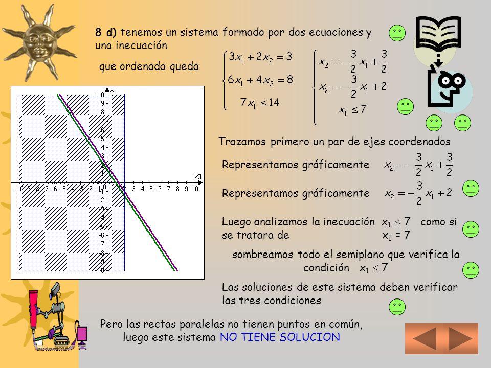 8 d) tenemos un sistema formado por dos ecuaciones y una inecuación