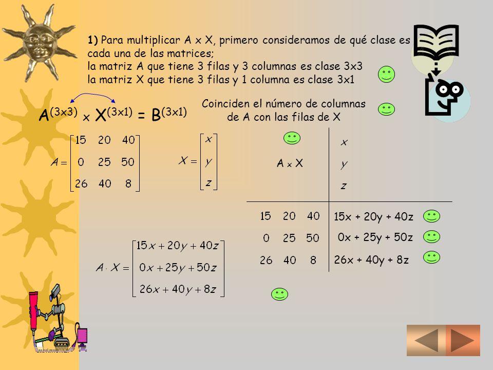 Coinciden el número de columnas de A con las filas de X