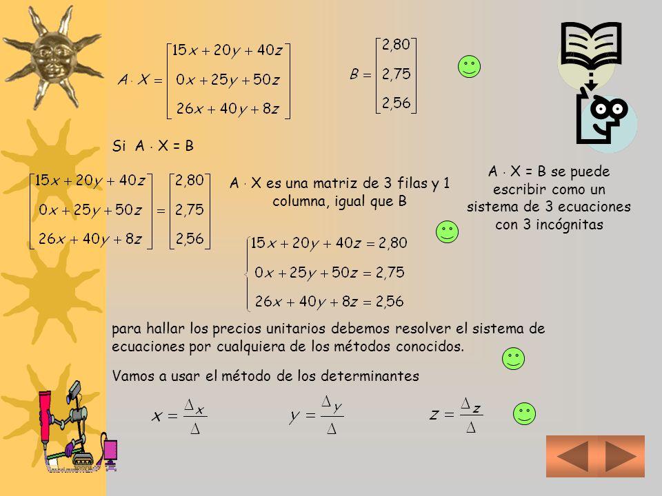 A  X es una matriz de 3 filas y 1 columna, igual que B