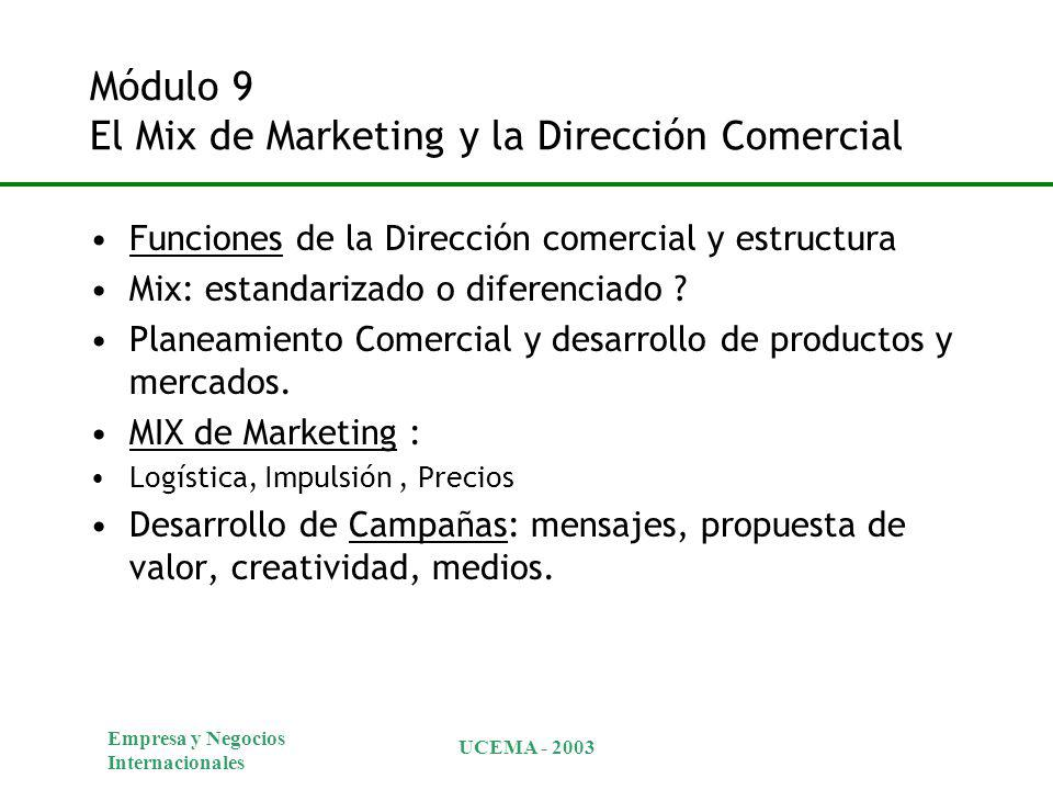 Módulo 9 El Mix de Marketing y la Dirección Comercial