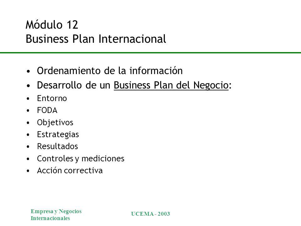Módulo 12 Business Plan Internacional