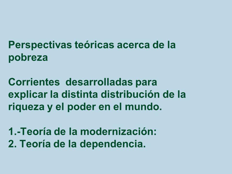 Perspectivas teóricas acerca de la pobreza Corrientes desarrolladas para explicar la distinta distribución de la riqueza y el poder en el mundo.