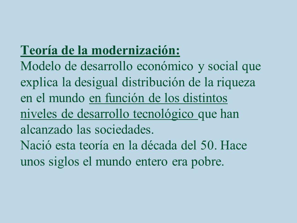 Teoría de la modernización: Modelo de desarrollo económico y social que explica la desigual distribución de la riqueza en el mundo en función de los distintos niveles de desarrollo tecnológico que han alcanzado las sociedades.